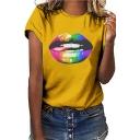 Street Fashion Colorful Lip Print Short Sleeve T-Shirt