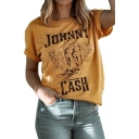 Womens Summer Hot Trendy Letter CASH Pattern Yellow Short Sleeve Graphic Tee