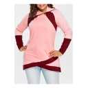 New Trendy Womens Plus Size Color Block Zipper Collar Long Sleeve Pink Sweatshirt