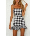 Summer Popular Plaid Print Bow-Tied Straps Ruffled Hem Mini Fitted Cami Dress