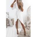 Womens Trendy Simple Plain V-Neck Tied Waist Maxi Wrap Dress