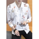 Mens Summer Fashion Print Stand Collar Long Sleeve Zip Up Lightweight Jacket