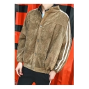Guys Vintage Corduroy Simple Striped Long Sleeve Button Down Casual Jacket