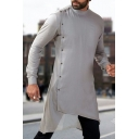 Mens Ethnic Style Stand Collar Oblique Button Front Long Sleeve Grey Longline Shirt