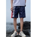 Men's Summer Trendy Colorblock Letter Printed Drawstring Waist Casual Loose Shorts