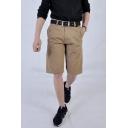Men's Summer Fashion Simple Plain Rivet Embellished Casual Cotton Chino Shorts