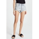 Womens Summer Vintage High Rise Rolled Cuff Ripped Denim Shorts Hot Pants