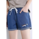 Students Cute Cat Embroidery Drawstring Waist Wide-Leg Blue Denim Shorts