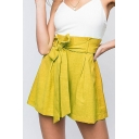 Womens Summer High Rise Tied Waist Simple Plain Loose Fit Culottes Shorts