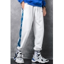 Guys Trendy Colorblock Letter A Printed Drawstring Waist Street Style Casual Loose Track Pants