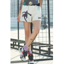 Girls Summer Unique Hip Hop Style Elastic Waist Loose Sport White Shorts