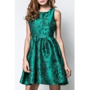 Summer Hot Fashion Green Sleeveless High Waist Zip-Back Jacquard Tank Dress