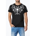 Summer New Fashion Skull Printed Round Neck Short Sleeve Cotton Casual Tee