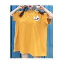 Womens Hot Fashion Yellow Short Sleeve Cat Embroidered Retro Frog Button Stand Collar Casual Loose Mini Dress