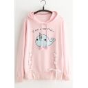 Girls Funny Cartoon Letter I AM A NARWHALE Print Lace-Up Front Cotton Loose Hoodie