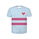 Simple Heart Print Stripe Color Block Light Blue Short Sleeve T-Shirt