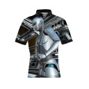 Cool 3D Robot Comic Figure Pattern Mens Short Sleeve Fitted Polo Shirt