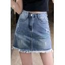 Summer Hot Fashion Sweet Girls Ripped Pocket Fringe Hem Mini A-line Denim Skirt