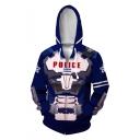 POLICE Comic Cosplay Costume Long Sleeve Zip Up Blue Drawstring Hoodie