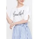 Womens Simple Letter BEAUTIFUL Pattern Bow-Tied Short Sleeve White T-Shirt