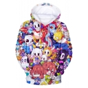 New Trendy Skull Comic Character Pattern Long Sleeve Loose Relaxed Unisex Hoodie