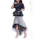 Womens Hot Fashion Chic Black Check Print Mesh Fishtail Hem Midi Skirt