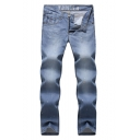 New Fashion Light Blue Denim Washed Paint Point Print Casual Jeans