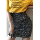 Womens Summer Trendy Sequin Embellished Stretch High Waist Mini Skirt