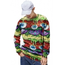 Cool Unique 3D Eyes Pattern Basic Round Neck Long Sleeve Pullover Sweatshirt
