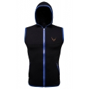 Mens Simple Logo Embroidery Contrast Trim Sleeveless Zip Up Hoodie