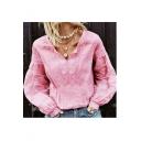 Summer Hot Fashion Plain V Neck Crochet Shirred Cuff Casual Blouse