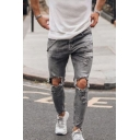 New Fashion Grey Cool Knee Cut Distressed Slim Ripped Jeans with Holes for Men