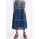 Fashion Summer Tribal Print Tie Waist Metallic Embellished Casual Loose Midi A-Line Skirt