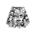 Summer Hot Sale Fashion High Waist Cartoon Print Mini Skater Skirt for Women