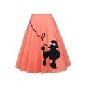 Summer Hot Sale Fashion Elastic Waist Dog Print Pleated Midi Skirt for Sweet Girls