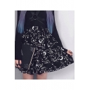 New Arrival Fashion Black Star Moon Print High Waist Pleated Mini Skirt for Sweet Women