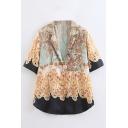 Summer Hot Fashion Vintage Floral Print Short Sleeve V Neck Holiday Fitted Shirts