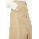 New Arrival Retro Double Button Down Khaki A-Line Midi Cargo Skirt for Women