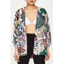 Hot Popular Summer Plant Animal Printed Short Sleeve Loose Open Front Holiday Sunscreen Shirt