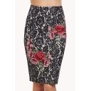 Hot Stylish Lace Rose Print Split Back Midi Pencil Skirt for Office Women