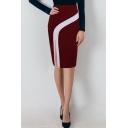 Womens Hot Fashion ColorBlock High Waist Split Side Midi Office Skirt