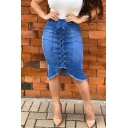 Summer Fashion Women Plain Lace Up Eyelet Embellished Tassel Hem Washed Midi Denim Skirt