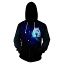 How to Train Your Dragon 3 Fashion 3D Galaxy Print Long Sleeve Full Zip Navy Hoodie