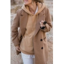 Womens New Stylish Notched Lapel Collar Long Sleeve Double-Breasted Khaki Long Wool Peacot