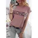 Popular Simple Letter BLONDE Pattern Round Neck Short Sleeve Casual Loose T-Shirt