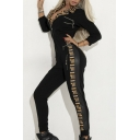 Women Hot Popular Classic Black Long Sleeve Zip-Front Tribal Printed Side Sport Jumpsuits