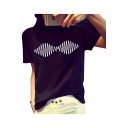 Funny Street Fashion Simple Line Print Black Short Sleeve Casual Tee