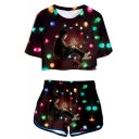 Hot Trendy Stranger Things Figure Printed Short Sleeve Crop Tee with Sport Shorts Two-Piece Set