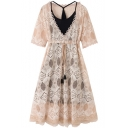 Womens Hot Stylish Plus Size Khaki Short Sleeve Tie Waist Cutout Trim Midi A-Line Lace Dress