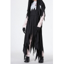 Hot Stylish Halloween Style Black Long Sleeve Asymmetric Hem Colorblock Maxi Dress for Cosplay